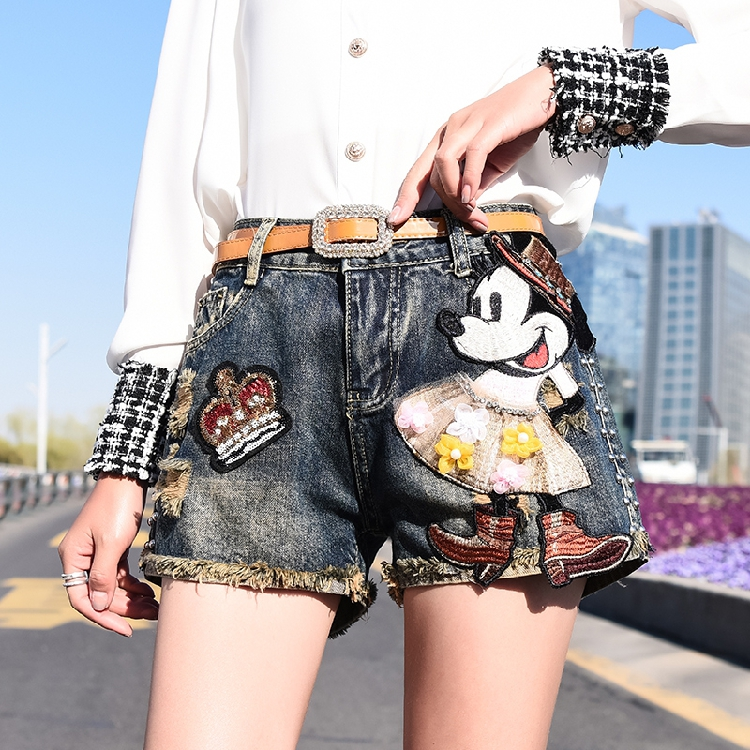 Women Mickey Applique Sequin Denim Shorts Summer Rivet Tassel Edge Jeans Shorts New Casual Minnie Patch Shorts