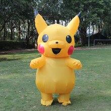 Inflatable Pikachu คอสเพลย์เครื่องแต่งกายสำหรับผู้ใหญ่ชุดผู้ชายผู้หญิง Blowup Mascots แฟนซีชุด