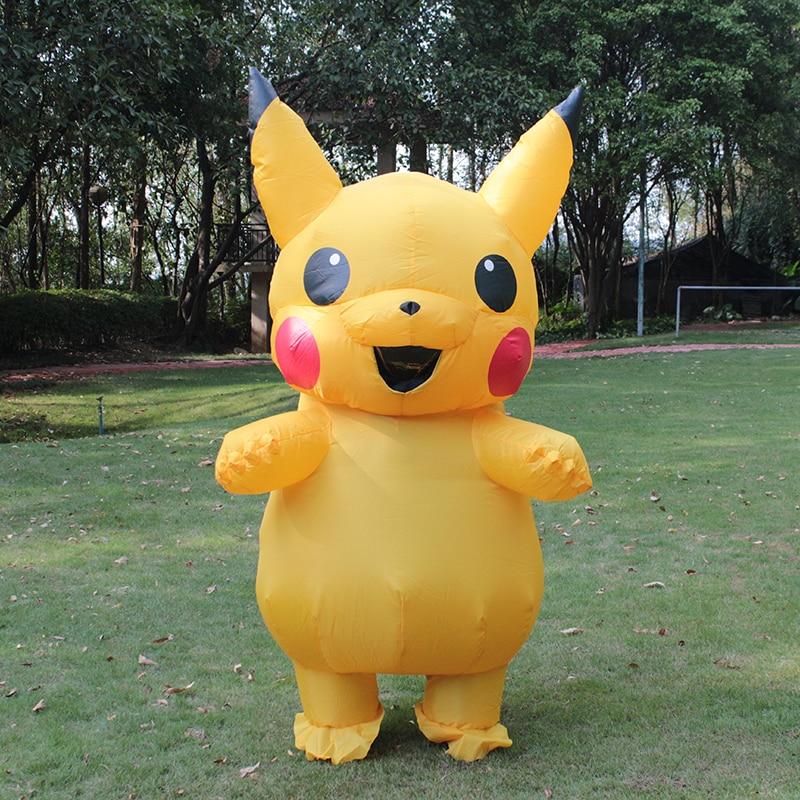Uppblåsbara Pikachu Kostym Cosplay Uppblåsbara Kostym För Vuxna Outfit Män Kvinnor Blowup Mascots Fancy Dress Suit