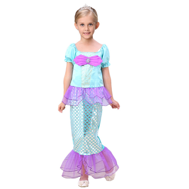 fashion 2 to 11 years old girl clothes princess halloween costume for girls blue mermaid dress