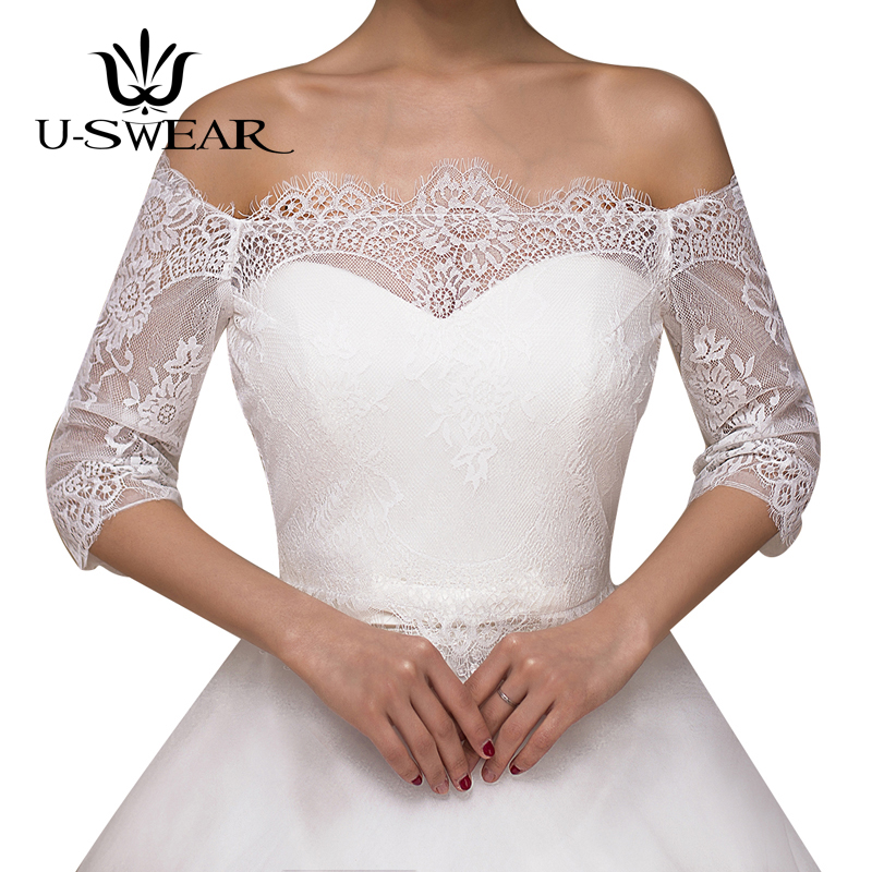 U-SWEAR 2018 New Arrival Lace Flora Soft Mesh Sheer Wedding Jackets Women Bolero Short Sleeve Wedding Accessories Bridal Shawls