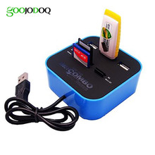 All In One 3 ports Combo with Multi-card Reader for SD/MMC/M2/MS/MP Pro Duo Memory Card USB 2.0 Hub Laptop PC E18