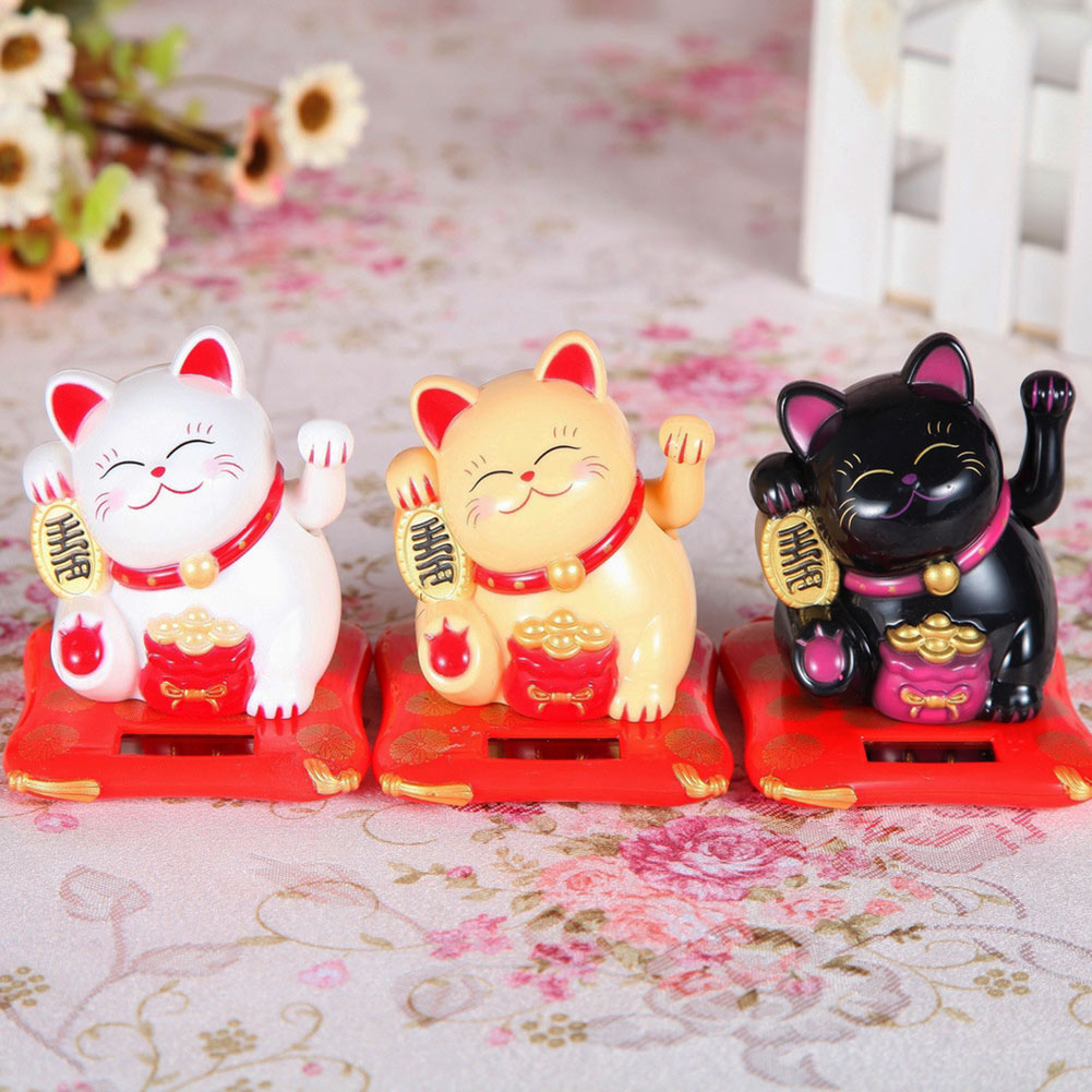 Lovely Creative Waving Hands Lucky Cat Wealth Fortune Cat Ornament for Home Office Checkou