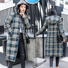 YTNMYOP 2019 New Fashion Plaid Winter Coat Women Thick Warm Long Female Jacket Hooded Down Cotton Clothing Overcoat Parkas Lady