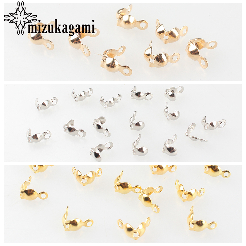100pcs/lot Jewelry Gold Silver The End Bead Jewelry Findings Clasps End Caps Crimps Beads For DIY Jewelry Accessories