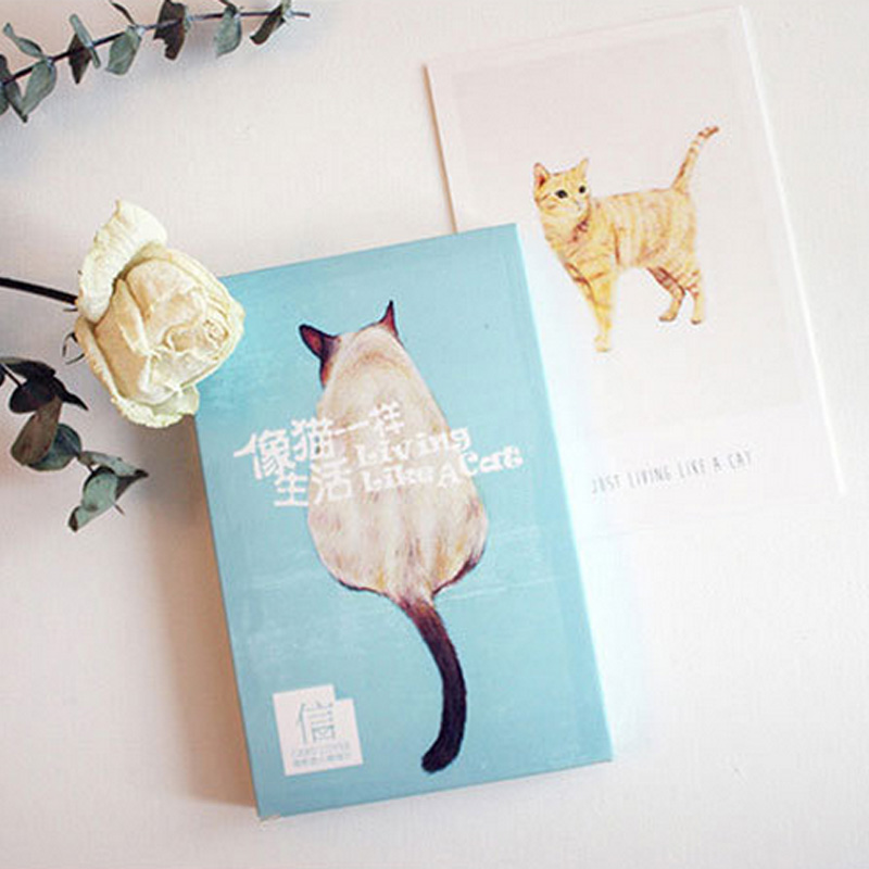 30 Pcs/pack Cute Cat Pet Animal Greeting Card Postcard Birthday Letter Envelope Gift Card Set Message Card