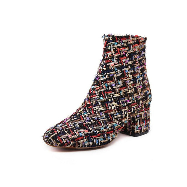 winter Newest Hot shoes Woman Vogue Europe and the United States style boots Embroidered coarse heel women's shoes Sequin boots