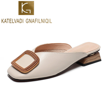 KATELVADI Women Pumps 3CM Heels Beige PU Buckles Square Low Mules Shoes Ladies Slippers  K-418