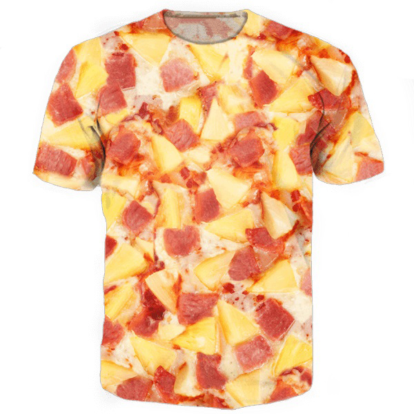 607866704 fashion clothing women men Hawaiian Pizza O-neck Tee Shirts 3d tops  all-over print t-shirt funny t shirts summer casual tshirt