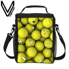 VEEVANV Brand 2017 The Pattern of Ball Lunch Bags 3D PU Print Insulated Lunch Bag Cooler Picnic Food Bag Girls Storage Lunch Bag