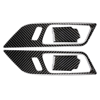 Velocidade De Fibra De Carbono Porta Tigela Porta Interior Alças Decorativo Para Ford Mustang Carro Adesivos de Carro-Styling 2015 2016 2017
