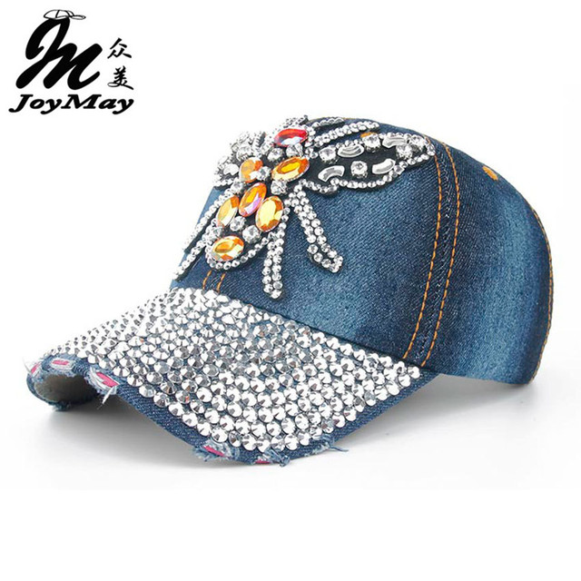 Joymay 2016 New Colorful Bling BEE Diamante Jean Denim Baseball Cap Men Adjustable Snapback Caps Women Casual Outdoor B272