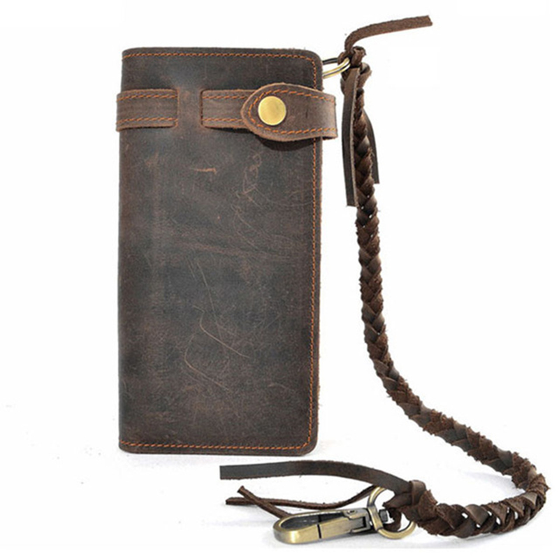 100% Genuine Leather Purse Multifunction Male Card Holder With Coin Pocket Luxury Vintage Designer High Quality Long Clutch Pung