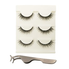 3 Pairs Sexy False Eyelashes 100% Handmade 3D Mink Hair Beauty Thick Long Fake Eye Lashes Eyelash + 1 Tweezers