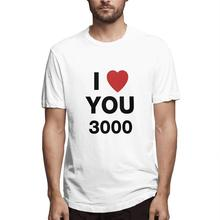MISSKY Men Summer t shirt I LOVE YOU 3000 Fashion Letters Printing Unisex Short Sleeve Round Collar T-shirt Male Clothes