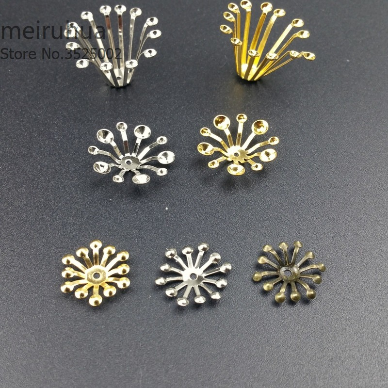 50 pieces/lot 14mm Gold color/White K/Antique bronze Vintage Metal Filigree Flowers Slice Charms Setting Jewelry DIY Components