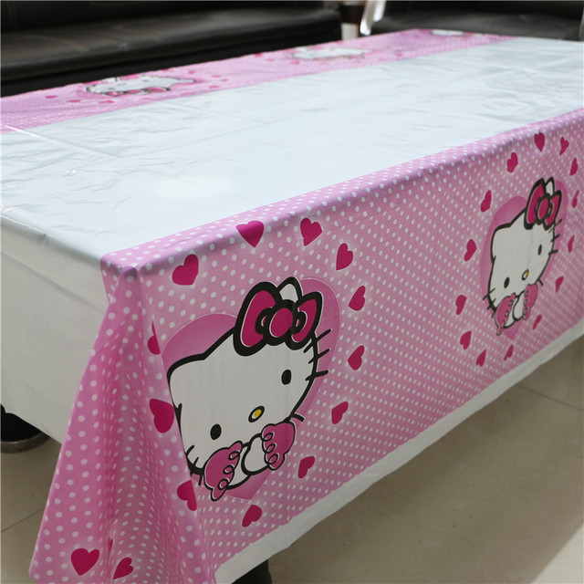 Hot Sale Hello Kitty Plastic Tablecloth for Cartoon kids happy