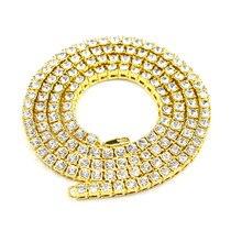 Hip Hop Cadena de Oro 1 Filas de Diamantes Simulados 30 inch Collar de Cadena de Hip-Hop Para Hombre de Oro/Tono plata Iced Out Punk Collar NN03