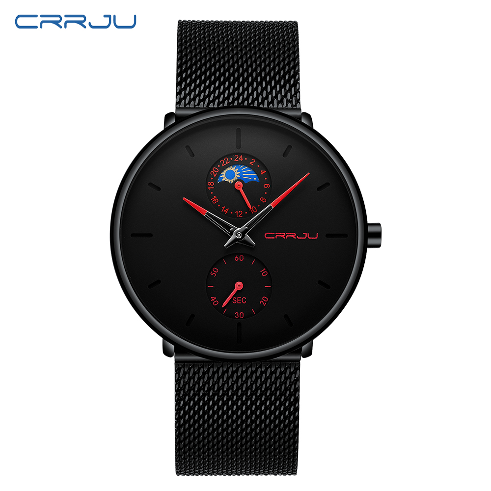 CRRJU Mens Watches Steel Slim Waterproof Top-Brand Casual Fashion Luxury Quartz Mesh