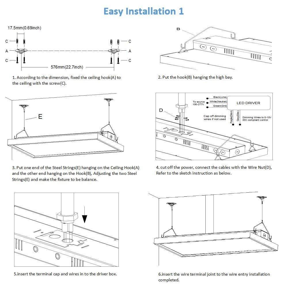 LED Linear High Bay, garage light, led garage light, factory light, work light,led shop light (5)