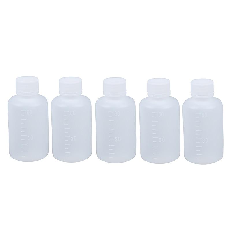 60ml Clear Plastic Cylinder Shaped Chemical Agent Bottle 5 Pcs