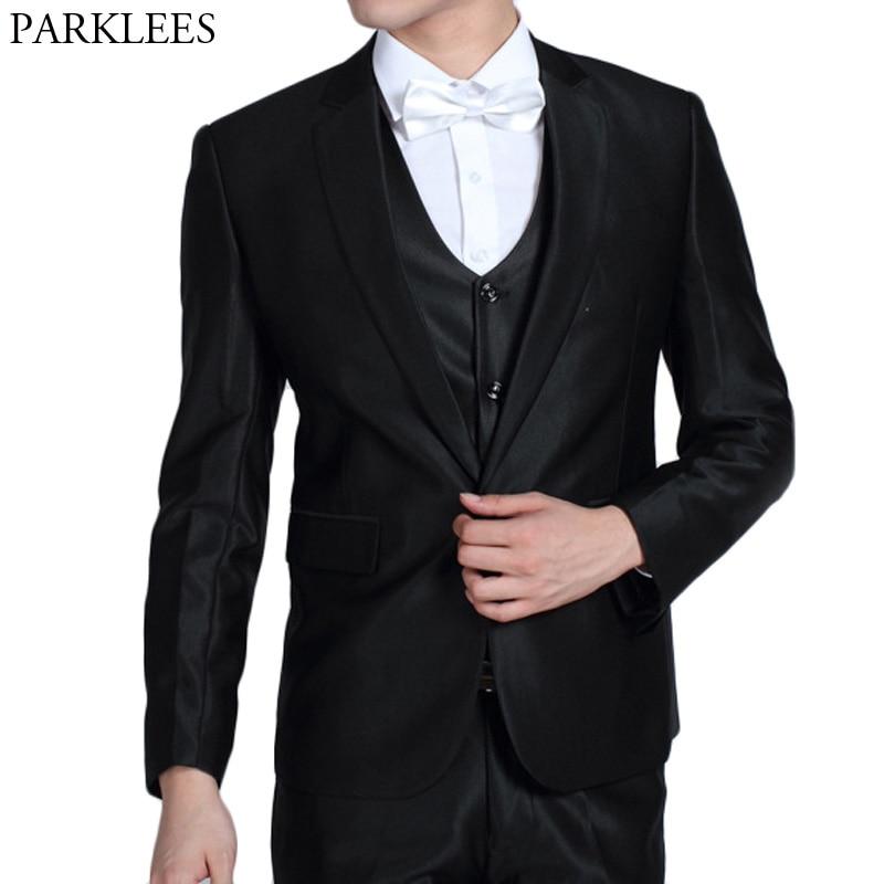 2018 hommes Costume d'affaires Slim Fit noir Homme costumes Blazers mariage marié Costume hommes un bouton 2 pièce (veste + pantalon) Costume Homme