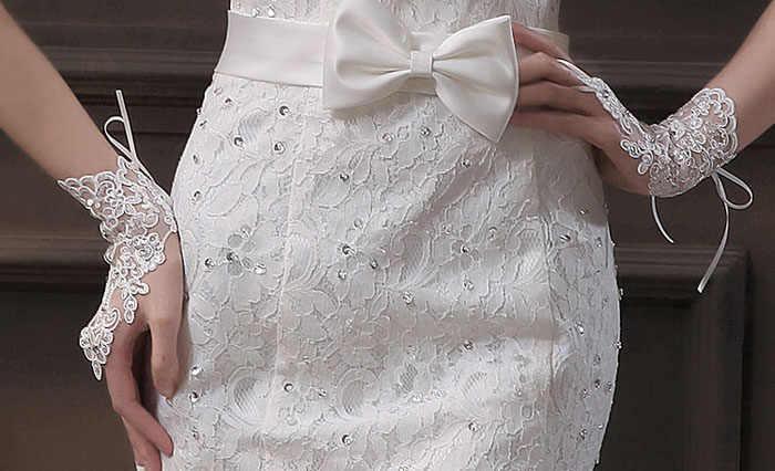 2019 חם כלה אופנה המפלגה שמלה ללא אצבעות יפה ריינסטון תחרה סאטן אופנה כפפות Feitong אלגנטי משלוח חינם
