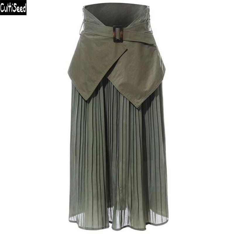 Cultiseed femmes jupes 2019 femme nouvelle mode Cummerbunds Patchwork plissé jupes dames Vintage bureau travail fête jupes