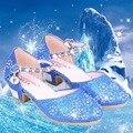 Strass Decoração Sapatos Meninas Princesa Elsa Neve Meninas de Festa de Casamento Sandálias Meninas Sapatos Bola Sapatos de Dança Traje Cinderela