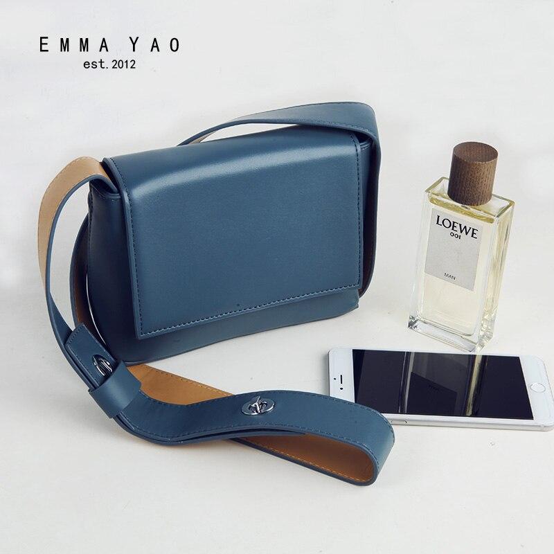 EMMA YAO genuine leather women bag designer women messenger bags famous brand shoulder bags