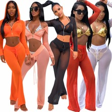 SUWA Sexy 2 Pieces Sets Women Jumpsuit Rompers V neck crop top Bodysuit Long Pants Bodycon