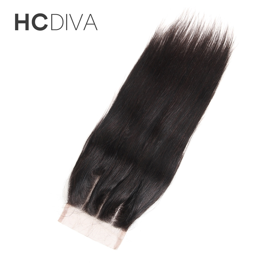 HCDIVA Straight 8″-18″ 100% Brazilian Non Remy Human Hair Natural Color Three Part 4*4 Lace Closure Medium Brown Swiss Lace