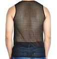 Novos homens Lace oco Vest regata roupa Sheer camisa sem mangas Tops mostrar Shirt do desgaste