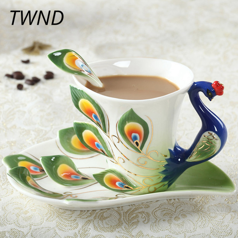 Emalia Peacock Coffee Mugs Procelain Tea Cups and Mugs with Saucer Spoon Ustawia Creative Drinkware