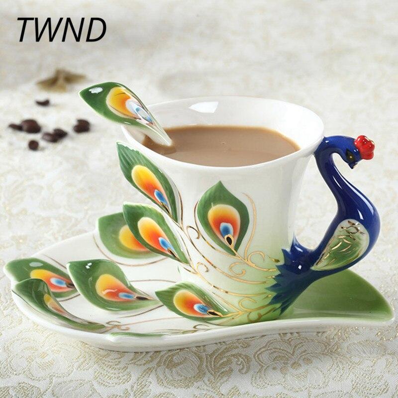 Enamel Peacock Coffee Mugs Procelain Tea Cups and Mugs with Saucer Spoon Sets Creative Drinkware