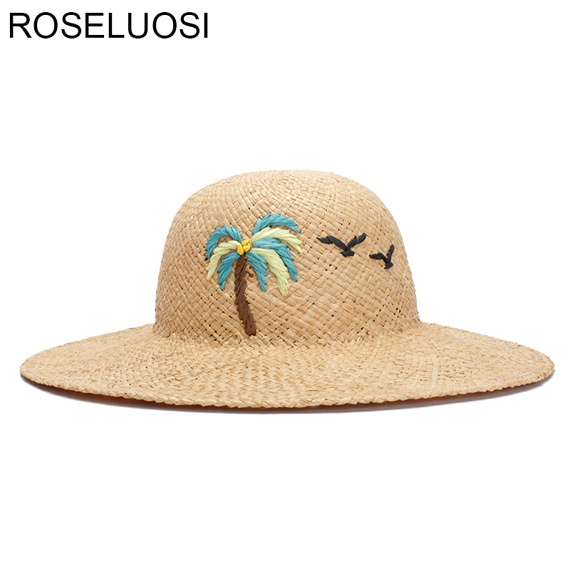 Women Fashion Sun Hat Sweet Elegant Vintage Cartoon Embrodery Flamingo Sun-Proof  Beach Wide Brim Straw Caps 2018 Summer Trendy a7f3804fbcb