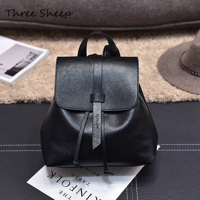 Fashion Small Women Backpacks Small Drawstring PU Leather Student Backpack Preppy Style Backpack Girls Women Backpack