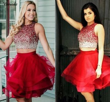 Two Piece Red Short Homecoming Dresses Sequins Tulle Tiered Ruffles A-line Party