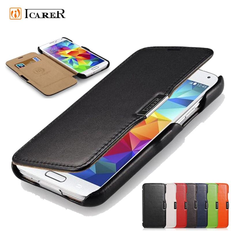 For Samsung Galaxy S5 Case ICarer Luxury Genuine Leather Cover Case for Samsung Galaxy S5 / I9600 Original Flip Phone Bag Case