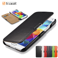 For Samsung Galaxy S5 Case ICarer Luxury Genuine Leather Cover Case for Samsung Galaxy S5 / I9600 Original Flip Phone Bag Case