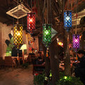 Color Glass Vintage Pendant Light Fixtures For Dining Room Decorate LED Hanging Lamp Mediterranean Sea Style DropLight