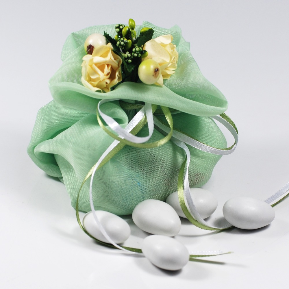 Italian Style Green Candy Gift Bags Floral Cloth Pouch Wedding Candy