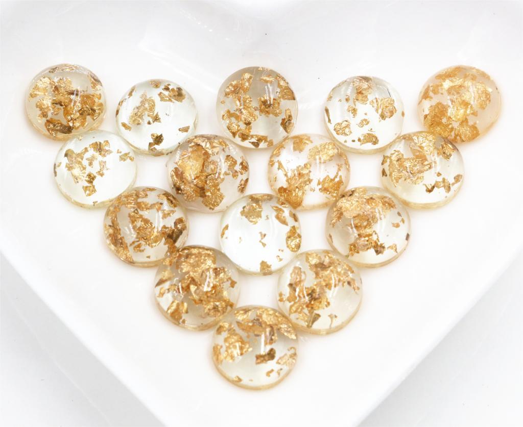 New Fashion 40pcs 12mm Transparent Colors Built-in Metal Gold Foil Flat Back Resin Cabochons Cameo-V3-11