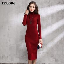 2018 herbst Winter Frauen Pullover Kleid Rollkragen Gestrickte Sexy Bodycon langarm büro Lange kleid Warm maxi kleid rot grundlegende(China)