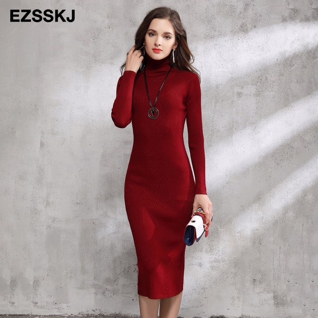 2017 осень-зима Для женщин Платья-свитеры Водолазка трикотажные Сексуальная Bodycon Длинные рукава офисные длинное платье теплое длинное платье Красный основной