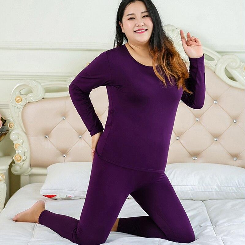 חדש בתוספת גודל תחתונים תרמיים נשים חורף בגדי שתי חתיכה חם חליפת ארוך John עבור נשים גדול גודל בגדים חם