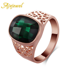 Ajojewel Geometric Green Crystal Cocktail Ring With Green Stone Women Rings Golden Finger Jewelry Wholesale стоимость