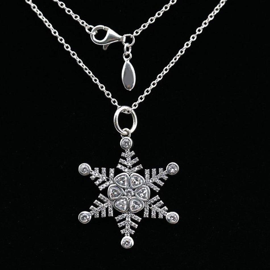 226e66b20f3d Nuevo collar de plata de ley 925 copo de nieve con collares de circonita  cúbica transparente para ...