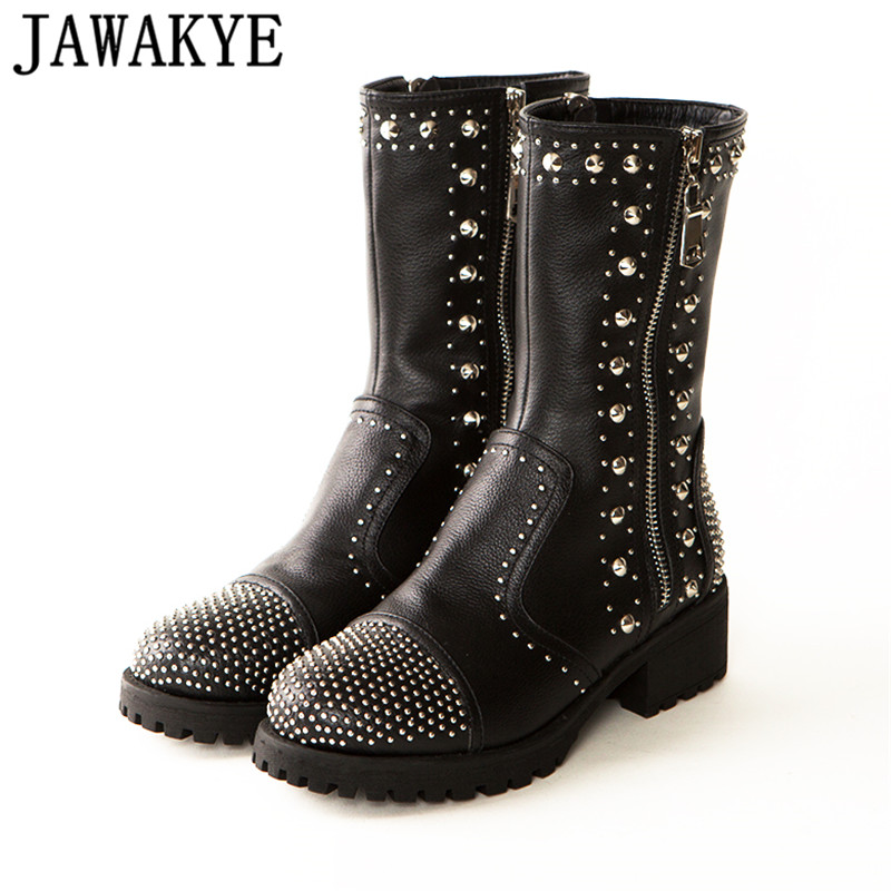 2018 rhinestone full rivets studded round toe ankle Boots for women flat heel real leather runway design crystal short boots casual metal and flat heel design short boots for women