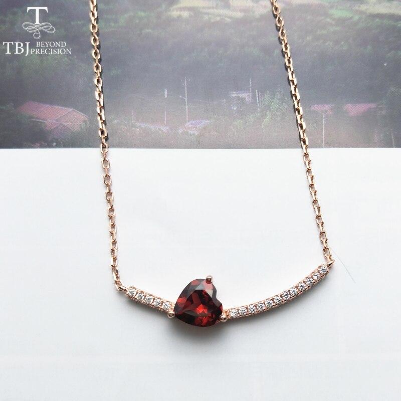 TBJ, 925 en argent sterling de mode pendentif collier avec naturel Mozambique grenat coeur forme 8mm de pierre gemme fine jewelry avec boîte